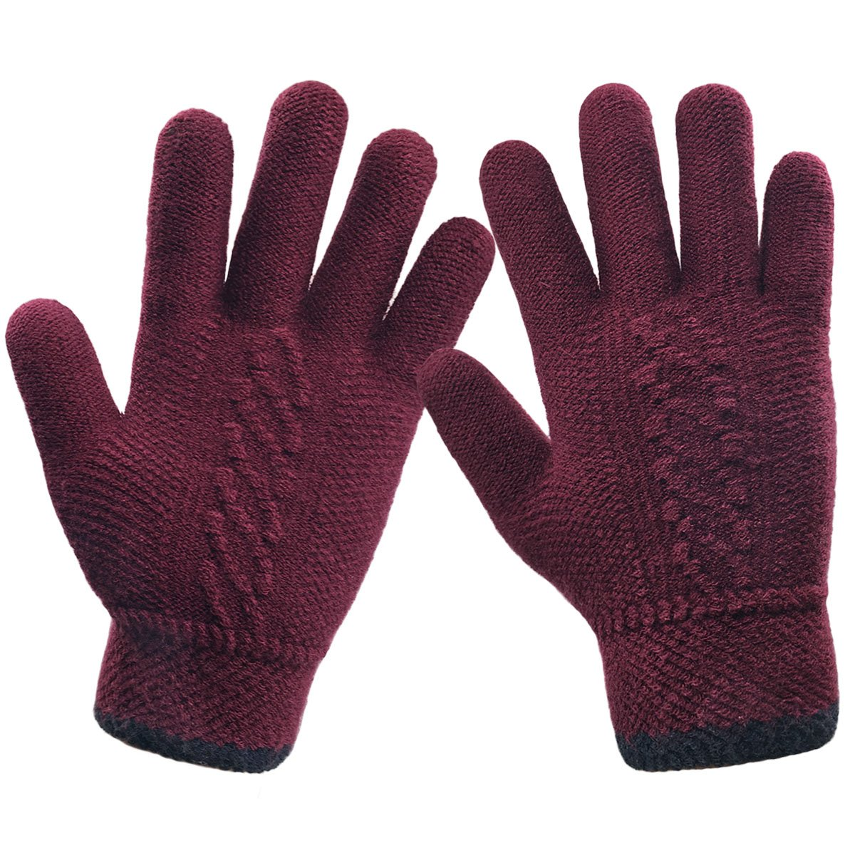 LETHMIK Unique Cuff Winter Gloves Womens Solid Color Warm Knitted Thick Gloves Wine Red