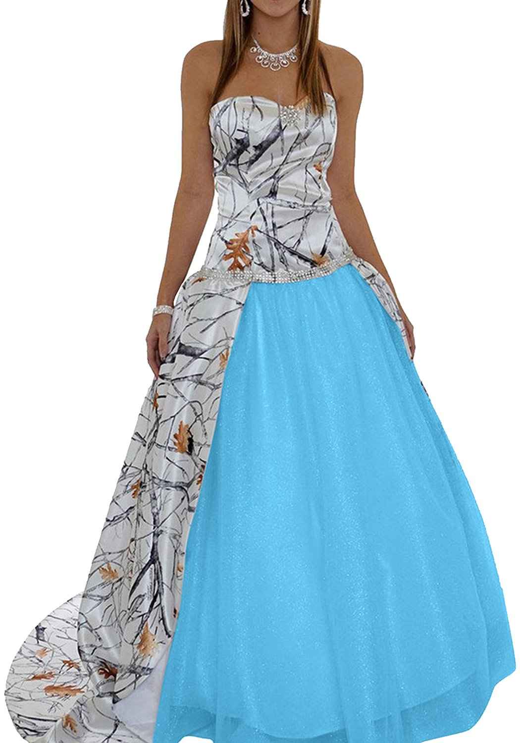 MILANO BRIDE 2017 Strapless Ball Gown Camo Wedding Dress Prom ...