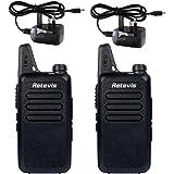 Retevis RT22 Ultrathin Ultralight Walkie Talkie 2W 16 Channels UHF 400-480MHz VOX Two Way Radio (Black,1 Pair)