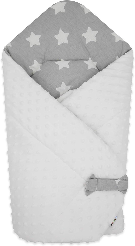 BlueberryShop polar Minky manta reversible para envolver al bebé | Saco de dormir para bebés recién nacidos | Para bebés de 0-3 meses | Regalo perfecto para Baby Shower | 78 x 80 cm | Gris Blanco