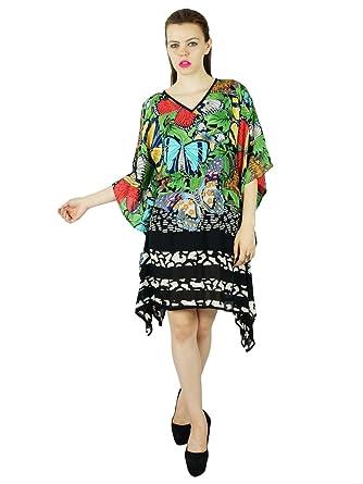 Bimba Femmes Multicolour Rayonne Plage Coverup Caftan Court Imprimé 418a48d362a