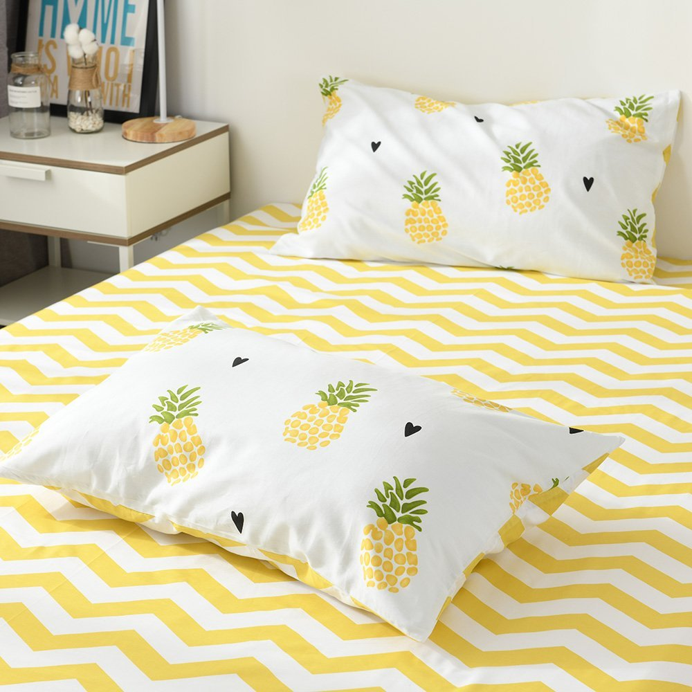 EnjoyBridal Pineapple Pattern Pillowcases, 2 Piece Anti-Wrinkle Fade Resistant Pillowslip for Kids Boys Girls, Premium Cotton Lightweight Pillow Covers for All Seasons, No Pillow (20''×26'', Yellow)