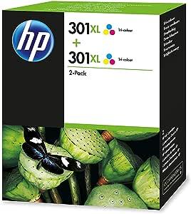 HP D8J46AE 301XL Cartucho de Tinta Original de alto rendimiento, 2 unidades, tricolor (cian, magenta, amarillo): Hp: Amazon.es: Oficina y papelería