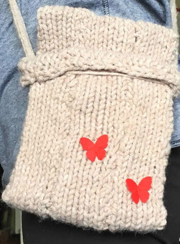 7f66109705dded Nel's Crafty Goods Handmade DIY Loom Knitted Beige Butterfly Cross Body  Shoulder Bag: Amazon.co.uk: Handmade