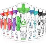Grsta Fruit Infuser Water Bottle, Large 1 Litre + Freezer Ball + Infusion Rod + 11 Colors + Portable Sleeves, BPA Free Infuser Water Bottle for Sport, Gym, Yoga, Leak Proof & Flip Top Lid
