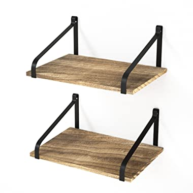 "Love-KANKEI Floating Shelves Wall Mount - Rustic Wood Wall Shelves with Large Storage (L 16  x W 11"") for Kitchen Living Room Bathroom Bedroom Set of 2 Torched Finish"