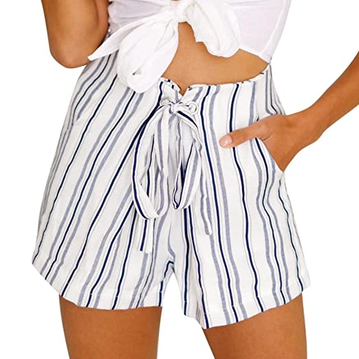 Women Fashion Striped Drawstring Casual Loose Summer Shorts Pants High  Waist Beach Shorts Hot Pants ( f6bdbde35b50