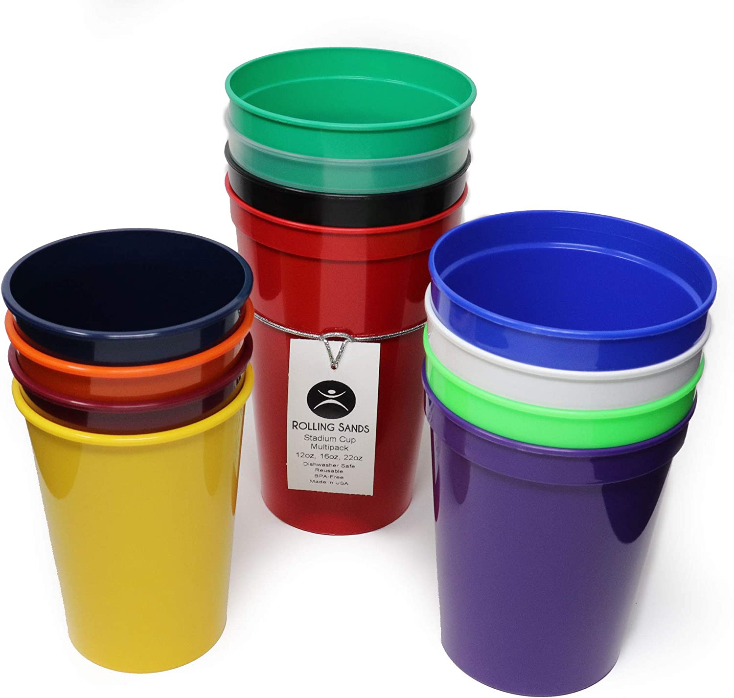 Rolling Sands 12 Pack Reusable Plastic Stadium Cups, Multipack of 3 Cup Sizes - 12oz, 16oz, 22oz – Made in USA, BPA-Free, Dishwasher Safe Plastic Tumblers - Set Includes 4 Assorted Cups of Each Size