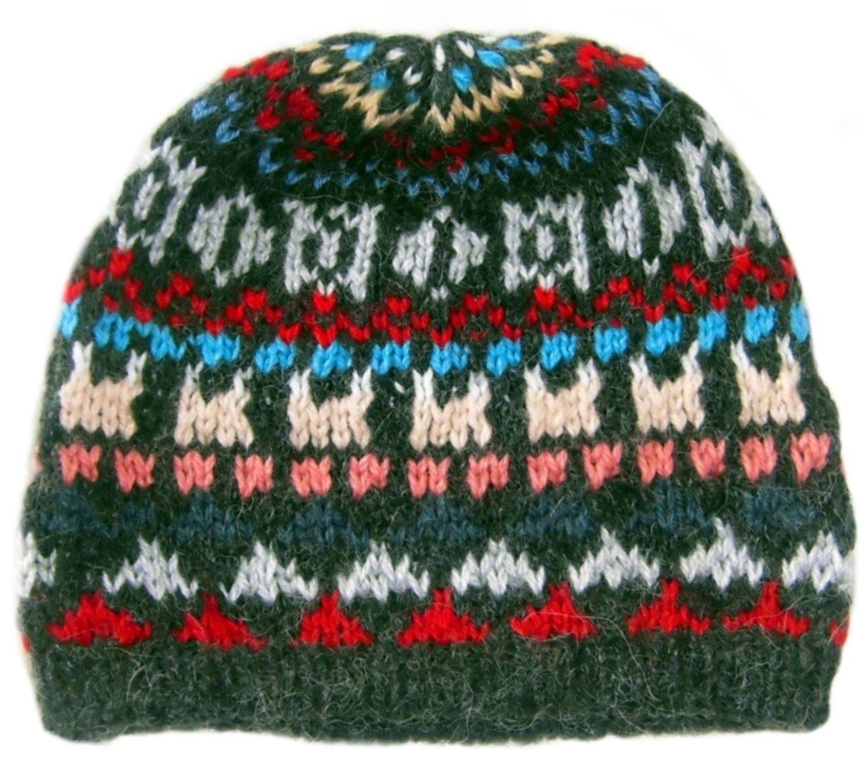 Alpakaandmore Little Boys Alpaca Wool Beanie Hat One Size Green