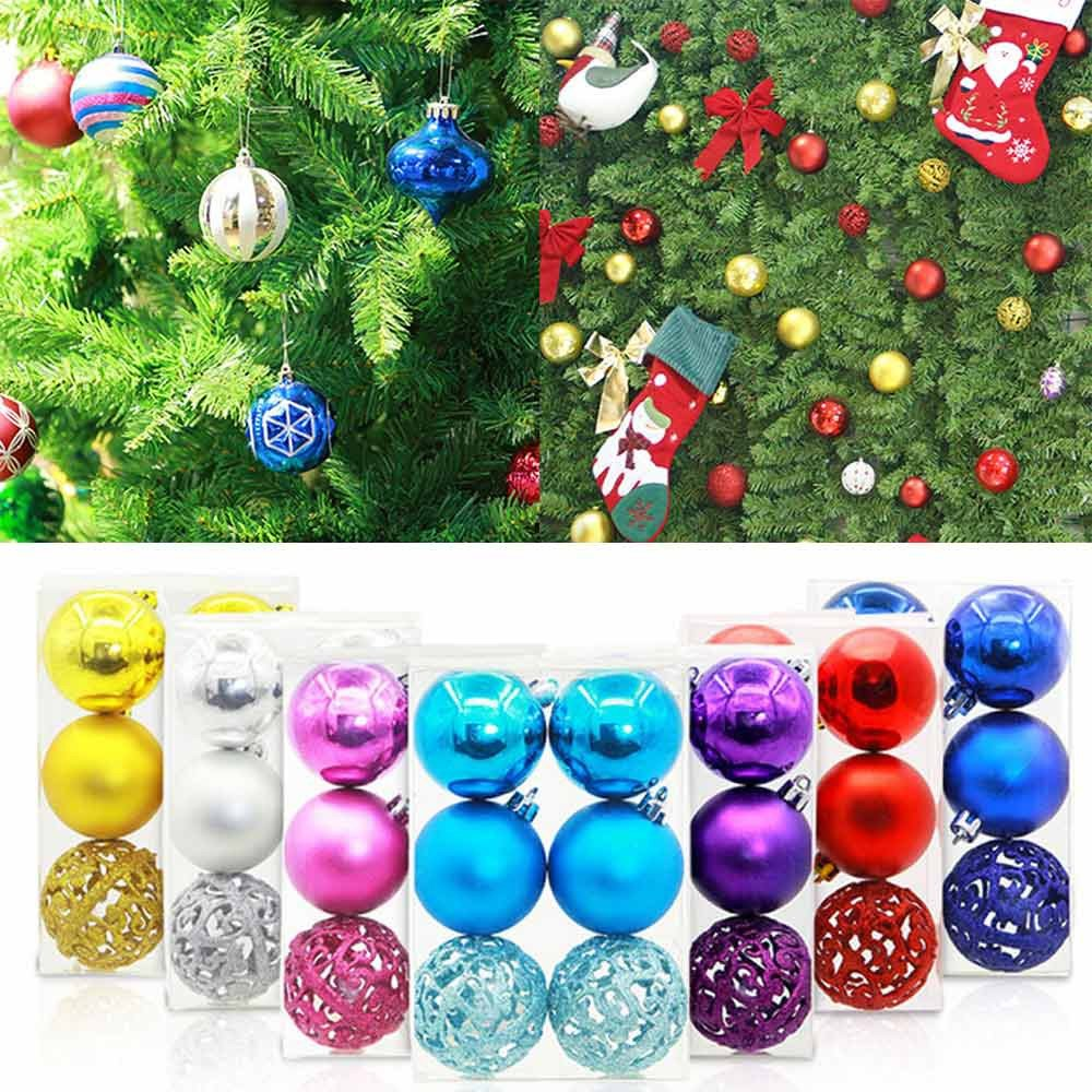 BSGSH Shatterproof Christmas Ball Ornaments -Shiny Matte Glitter Holiday Hanging Christmas Balls Ornaments Wedding Party Baubles Set Xmas Tree (Red)