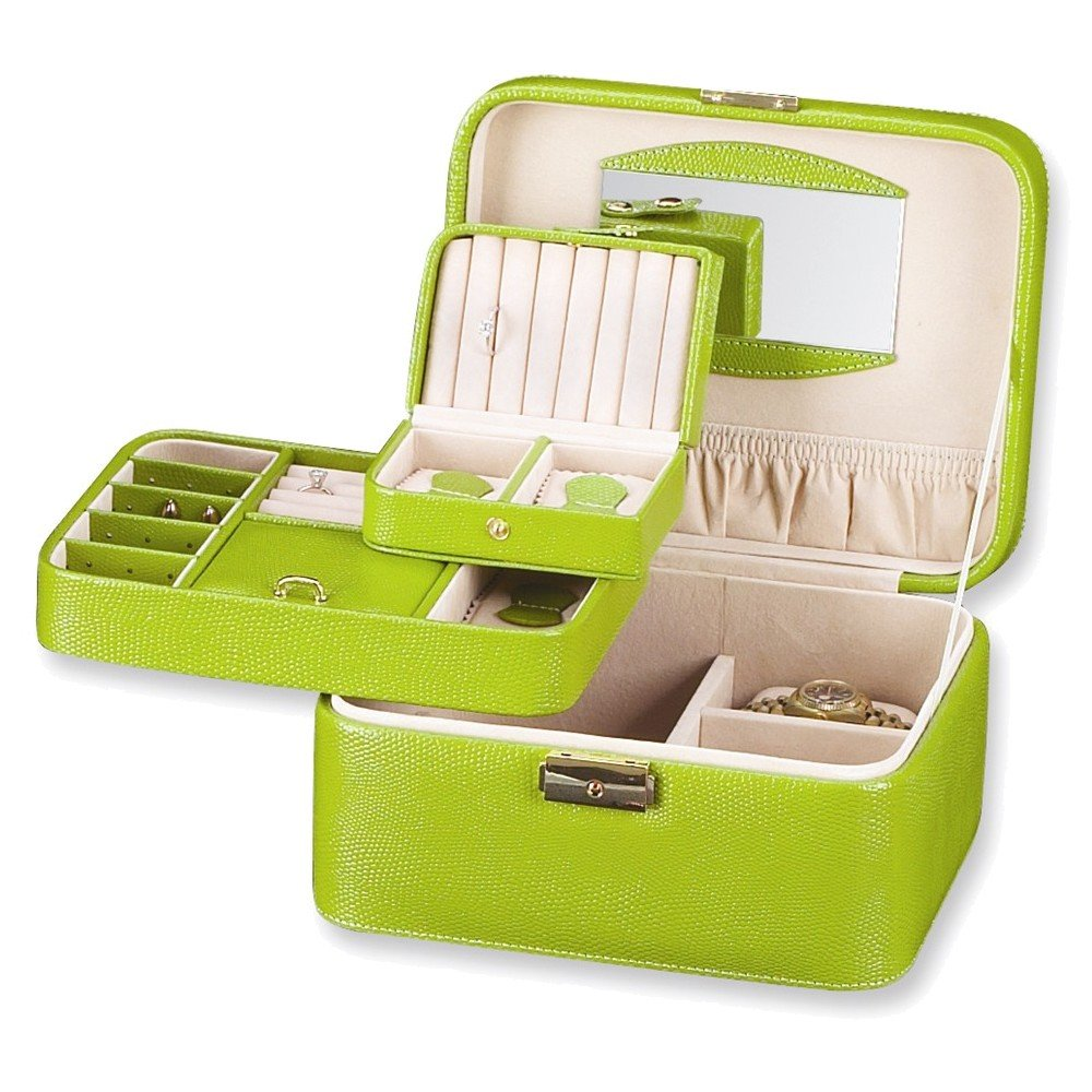 Lime Bonded Leather Jewelry and Watch Case