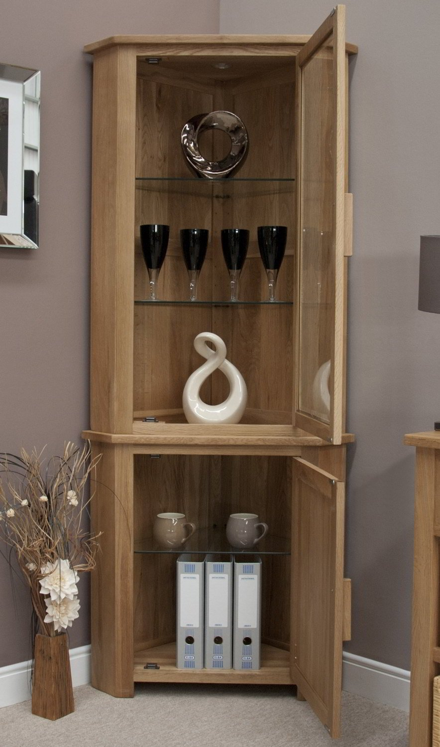 Eton Solid Oak Furniture Corner Display Cabinet Unit With Light:  Amazon.co.uk: Kitchen U0026 Home Part 52