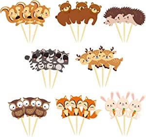 Ai-Fun 24PCS Woodland Animals Creatures Cupcake Toppers Forest Animals Cake Decorations Baby Shower Birthday Party Supplies