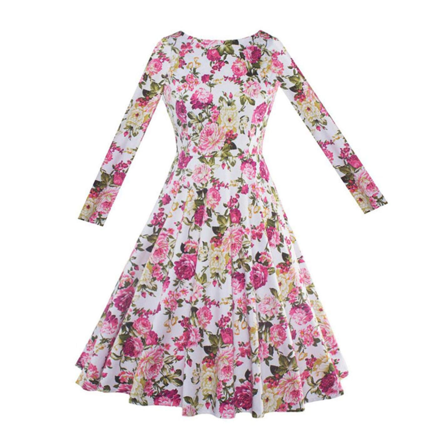 QjsIrPiX Womens Floral Party Pleated Green Long Sleeve Dress at Amazon Womens Clothing store: