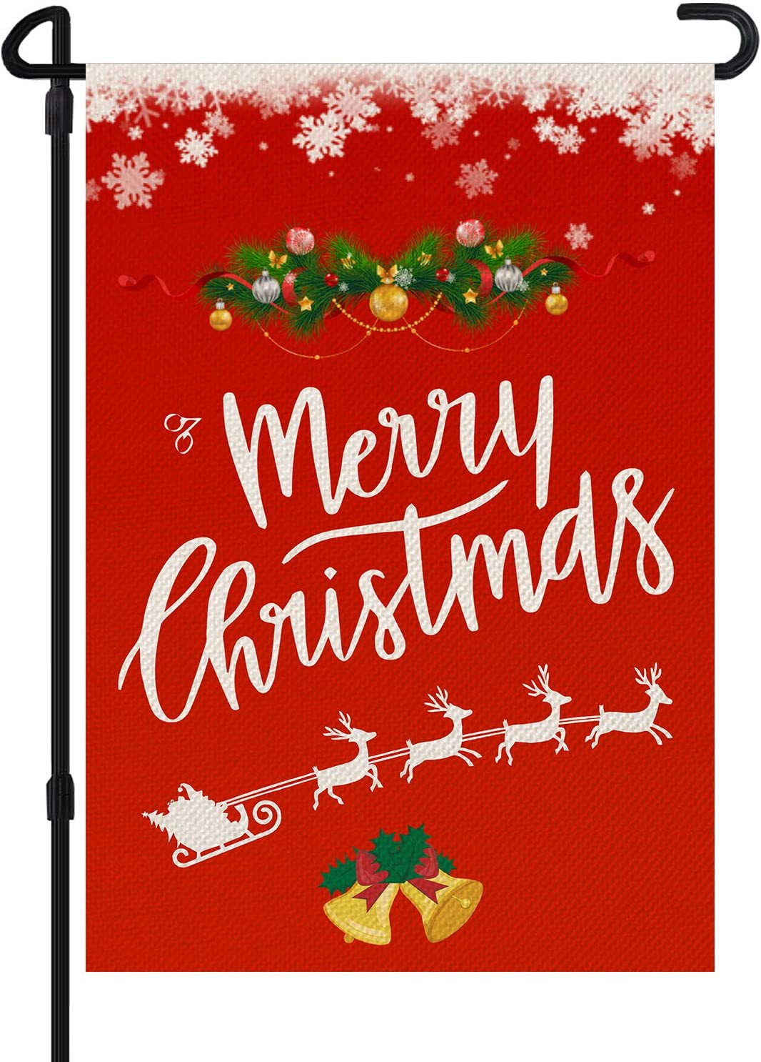 GOMALL Merry Christmas Garden Flag,Retro Red Double Sided Welcome Winter Garden Flag with Snowflake Elf,Practical Creative, New Year Seasonal Outdoor Flag for Yard Lawn Farmhouse Decor