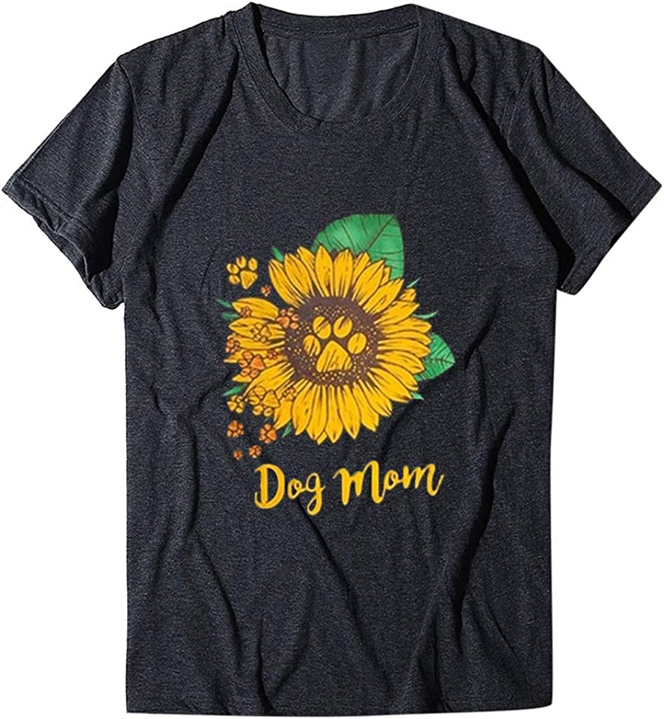 Rockia Sunflower Shirts for Women Short Sleeve Graphic Tees Casual Summer Funny Tshirts with Sayings Dog Lover Gifts