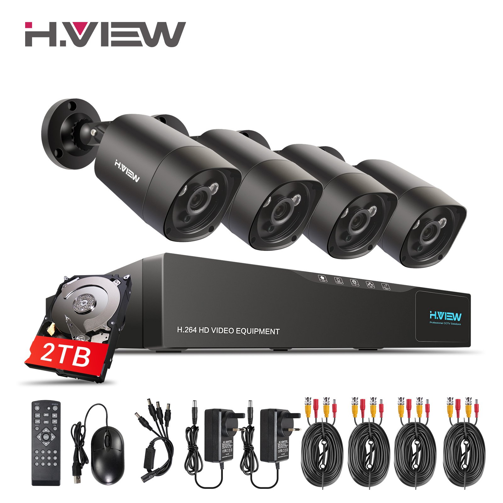 H.View 4.0MP Surveillance Camera System Including 5.0MP 4 Channel DVR and 4x1440P Security Cameras Indoor/Outdoor Home Security Camera System with 2TB Hard Drive Installed (35M Night Vision)