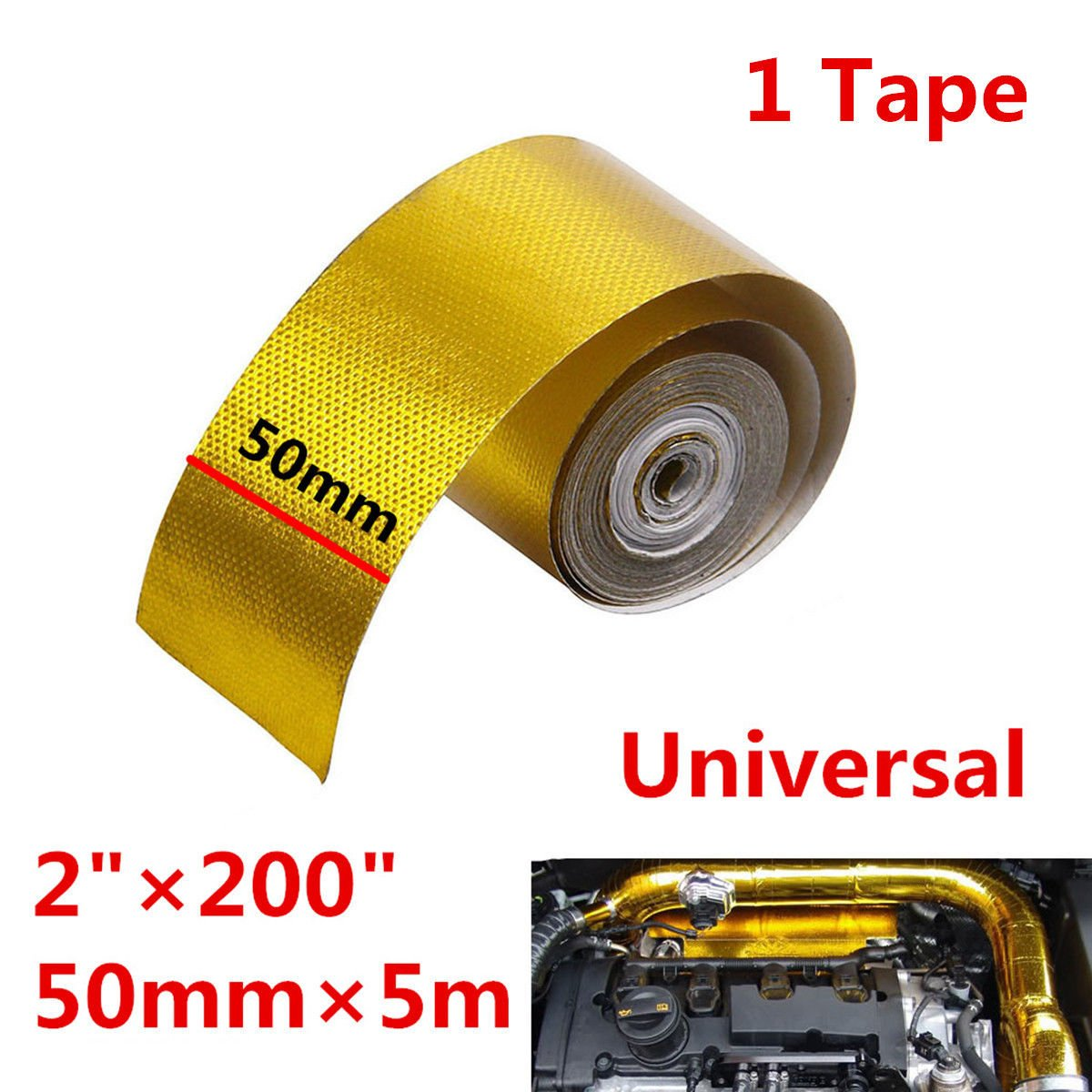 Gold 1200°f Continuous Car Auto High Temperature Heat Shield Wrap Protector Tape (5meter/roll)