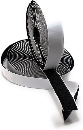 5METER Schwarz Klettband Haken /& Flausch Klett Breite 20mm selbstklebend