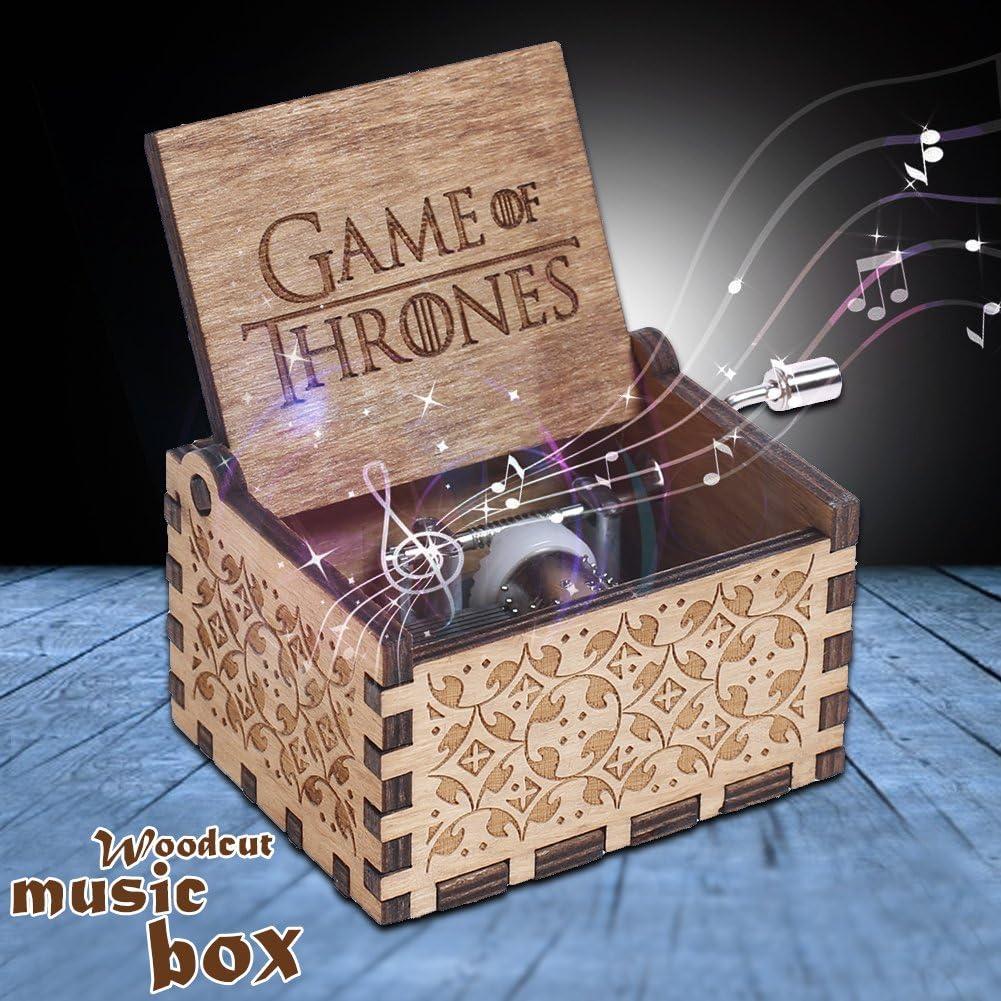 Crazystore Spieluhr aus Holz Game of Thrones graviert f/ür Jungen und M/ädchen handgeschnitzt handgekr/öpft handgefertigte Geschenke kreatives Heimdekoration