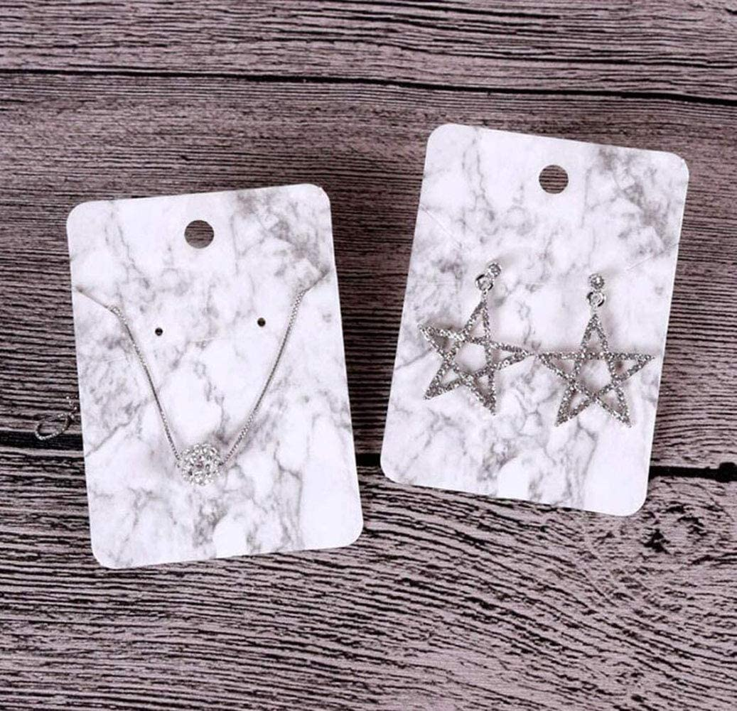 for Earrings Necklace Jewelry Accessory Display and 100PCS Transparent Self-Seal Bags 200PCS Include 100PCS Marble Earring Necklace Display Card Holder 2.8inchx2 inch 5.5inchx2.7inch
