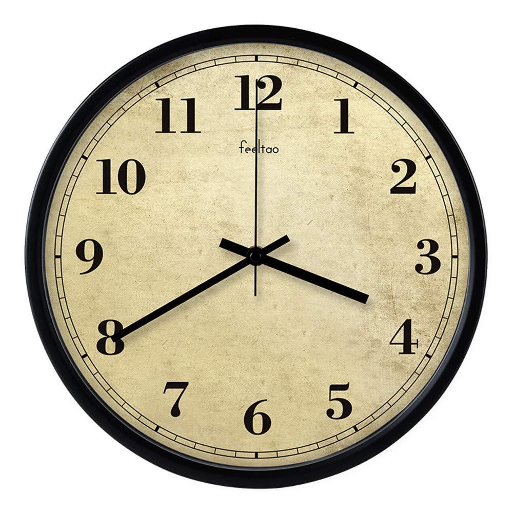 XPY-wall clock Wanduhr funkwanduhr bahnhofsuhr Retro römische Zahl Quarzuhr stumm Wohnzimmer Schlafzimmer minimalistisch Runde Wanddiagramme 12 Zoll B2