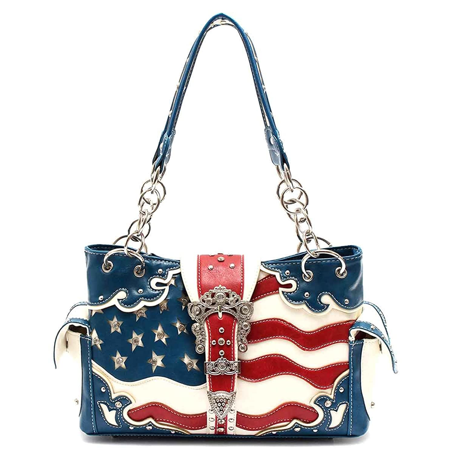 Western American Flag Purse Satchel, Plus Key Chain