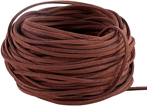 1m x 3mm Leather Coloured Cord String Flat Suede Cord Strip with 100pcs Silver Cord Ends for Crafts,Making Bracelets Necklace Keychain Beading 20pcs Leather String for Jewellery 20 Colors