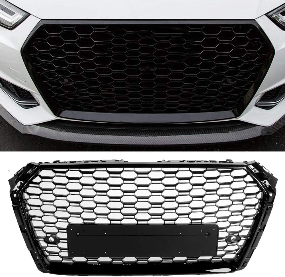 Car RS4 Style Mesh Grillgrill Schwarz Fit f/ür A4//S4 B9 2017-2019 KIMISS Fronthaube Mes Sto/ßstangengrill