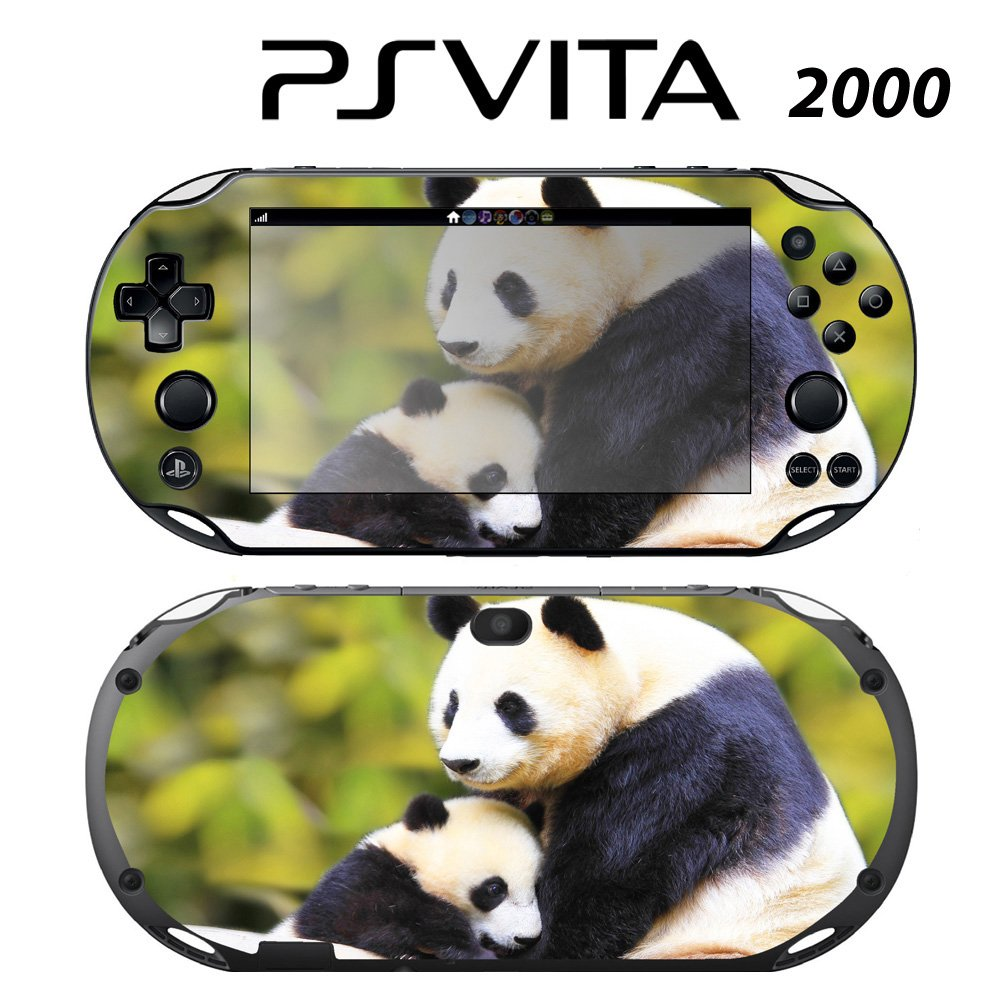 Decorative Video Game Skin Decal Cover Sticker for Sony PlayStation PS Vita Slim (PCH-2000) - Sweet Baby Panda with Mom