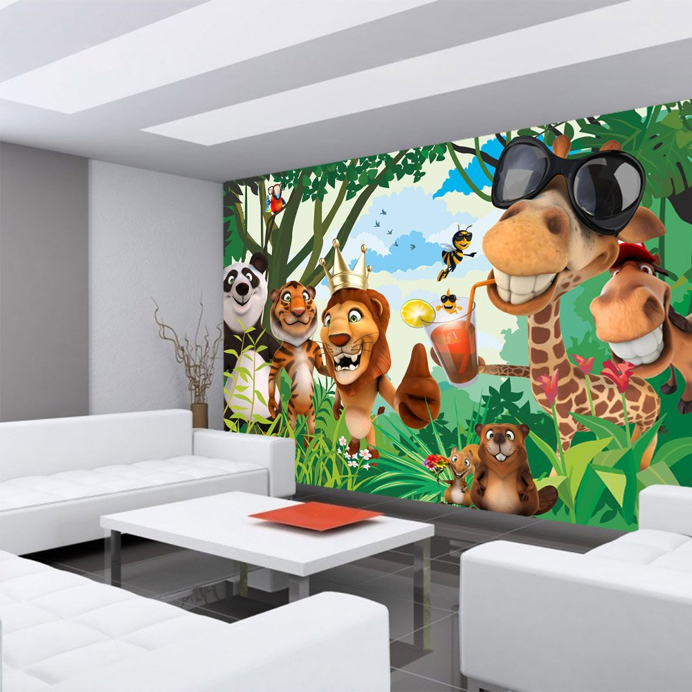 Vlies PLUS Fototapete 300x210 cm PREMIUM PLUS Vlies Wand Foto Tapete Wand Bild Vliestapete - JUNGLE ANIMALS PARTY no.2 - Kinderzimmer Kindertapete Zoo Tiere Safari Comic Party Dschungel - no. 087 a082b7