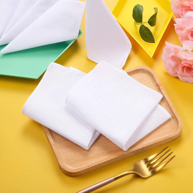 150 Pieces White Handkerchiefs Cotton Soft Classic Hankies Pocket Square Towel Small Size Handkerchiefs Absorbent for Kids Girl Boy Tea Parties