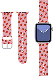 Pink Cute Girly Desginer Compatible with with Apple Watch Band 38mm 40mm 42mm 44mm,Strap with Soft Band Wristband for Compatible for Girl Women Kids iWatch SE Series 6/5/4/3/2/1