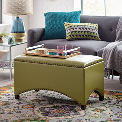 Premium Bonded Leather Storage Bench Ottoman Coffee Table Nailhead Accents  Choose Color Contemporary Home Furnishings (