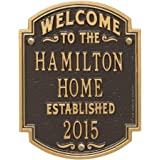 Personalized Welcome to Our House Custom Indoor/Outdoor Aluminum Wall Plaque - Bronze/Gold