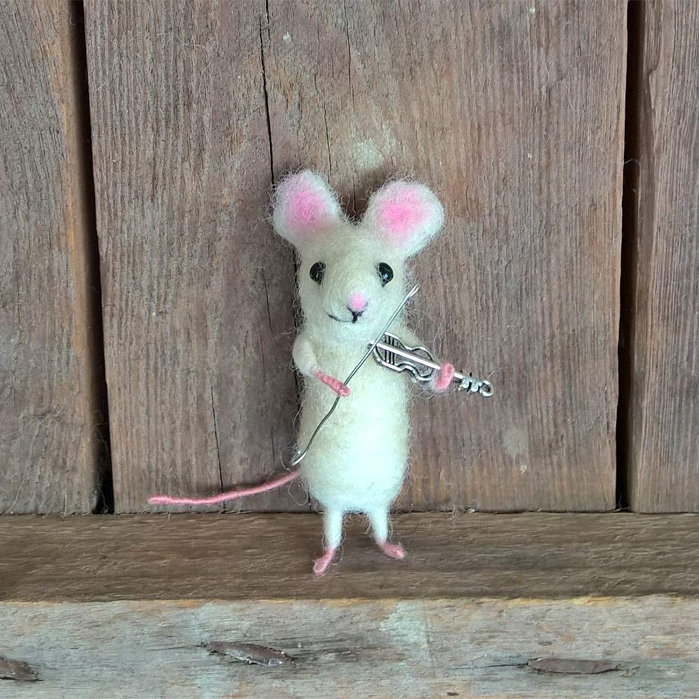 Miniature mouse violist figurine Woolen mouse Musician gift Animal brooch needle felted mouse by FunJoyShop