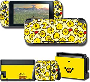GilGames Vinyl Skin Protector for Nintendo Switch, Wrap Cover Stickers Decals Full Set Protection Faceplate Console Joy-Con Dock