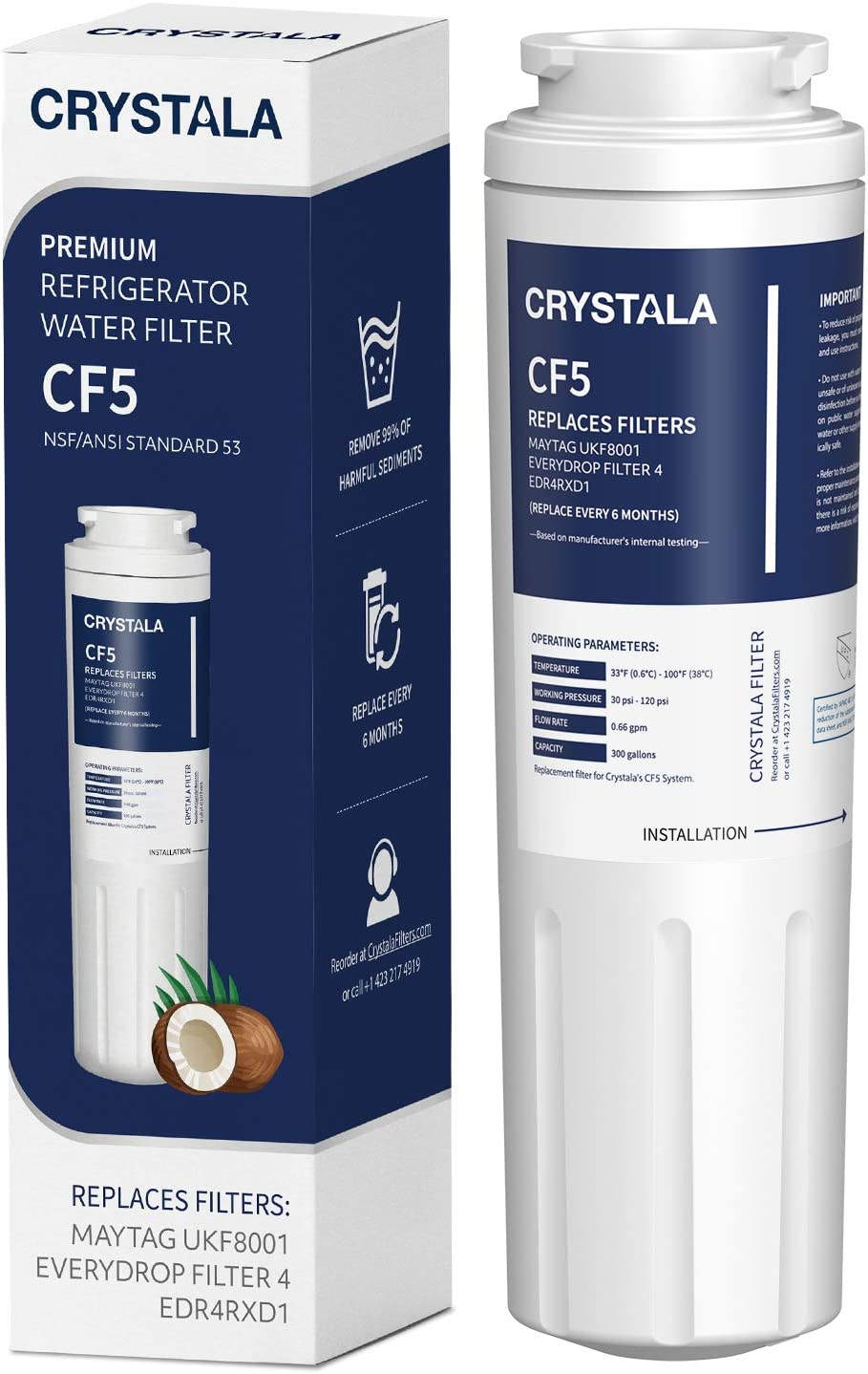 UKF8001 Water Filter, Compatible with Refrigerator Water Filter Whirlpool 4396395, Filter 4, Maytag UKF8001, EDR4RXD1, UKF8001AXX, UKF8001P, Puriclean II, 469006, by Crystala Filters (Pack of 1)