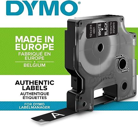 DYMO D1 - Etiquetas Auténticas, Impresión Blanca sobre Fondo Negro ...