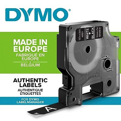 DYMO D1 - Etiquetas Auténticas, Impresión Blanca sobre Fondo Negro, 12 mm × 7 m, Autoadhesivas para Impresoras de Etiquetas LabelManager