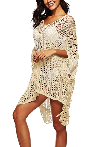 6b1d8f20f1 ReachMe Womens Crochet Swimsuits Cover Ups Knitted Bathing Suit Coverups  Lace Beach Dress(Beige,