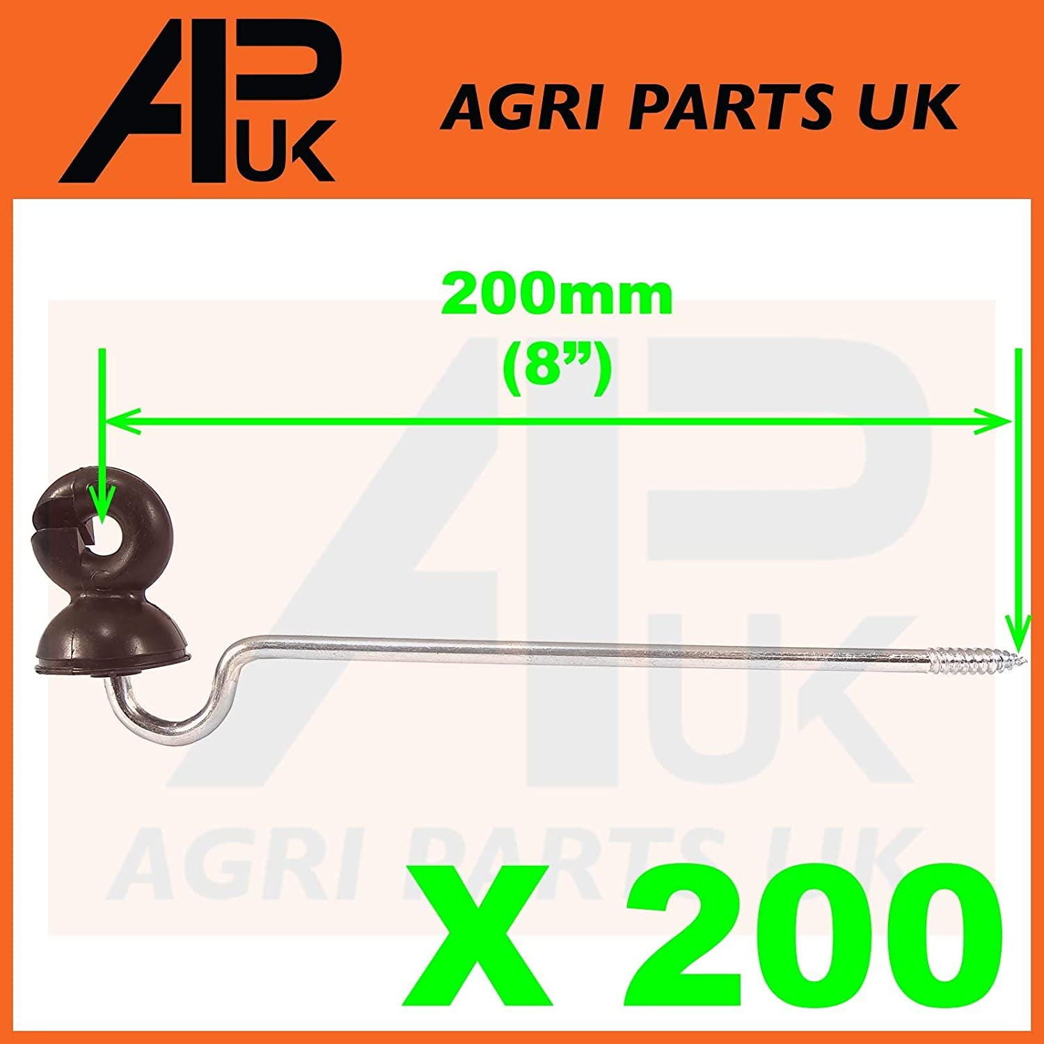 APUK 200 x Offset Long Distance Ring Screw Insulators Electric Fence Poly wire Rope