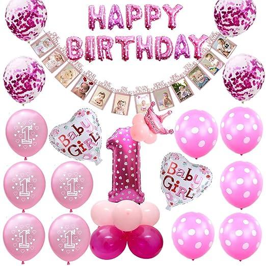 Oumezon - Globos para decoración de cumpleaños para niñas, 1 ...
