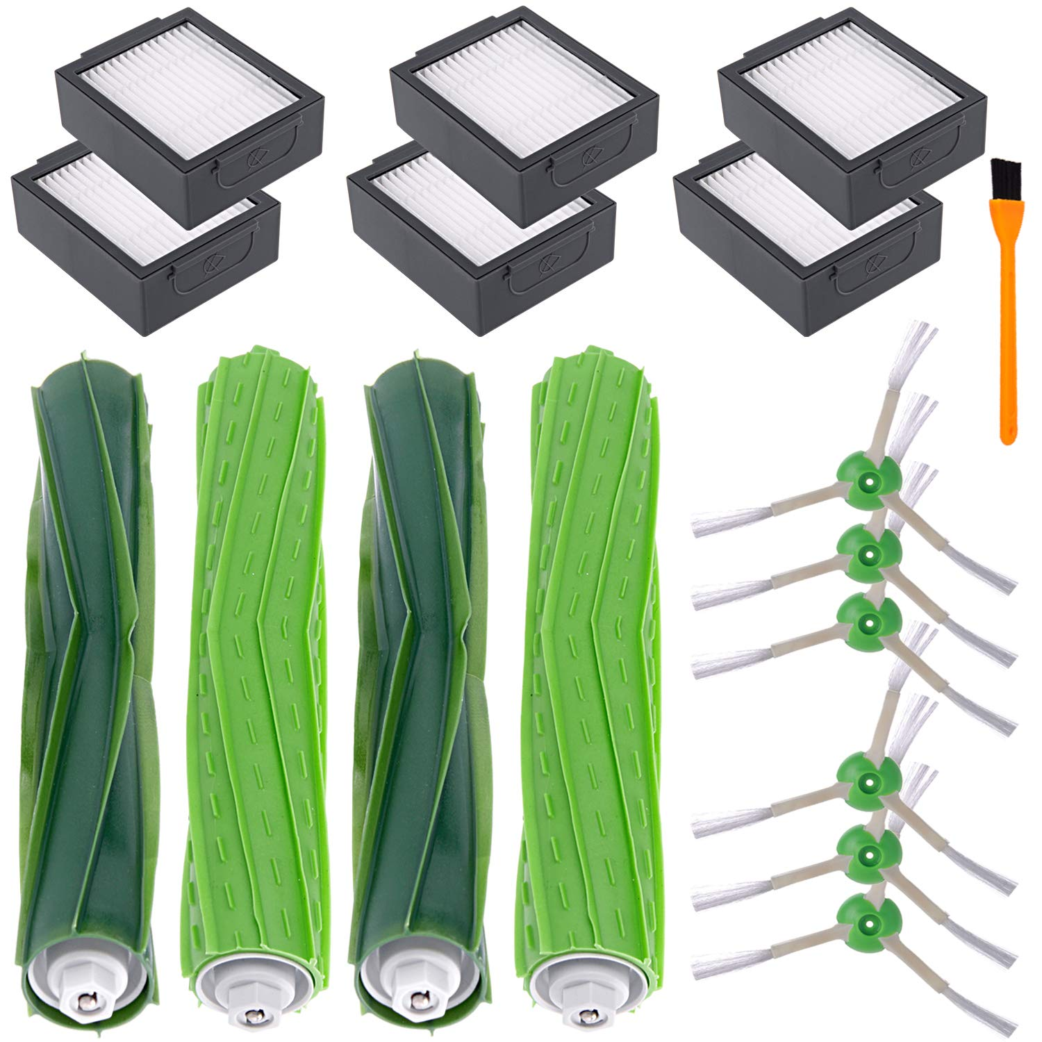 Hongfa i7 i7+ i7 Plus E6 E5 Parts for iRobot Roomba, Replenishment Parts Include : 2 Sets Rubber Brushes,6 Filters 6 Side Brushes with Screw