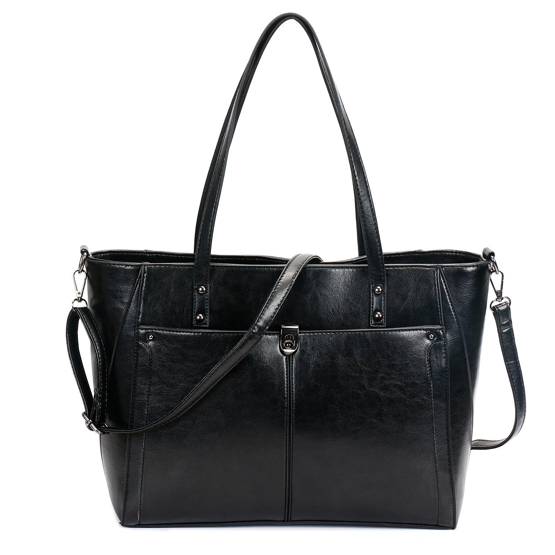 SIFINI Women PU Leather Large Shoulder Bag New Style Ladies Purse Handbag Messenger Bag Tote Bags (black)