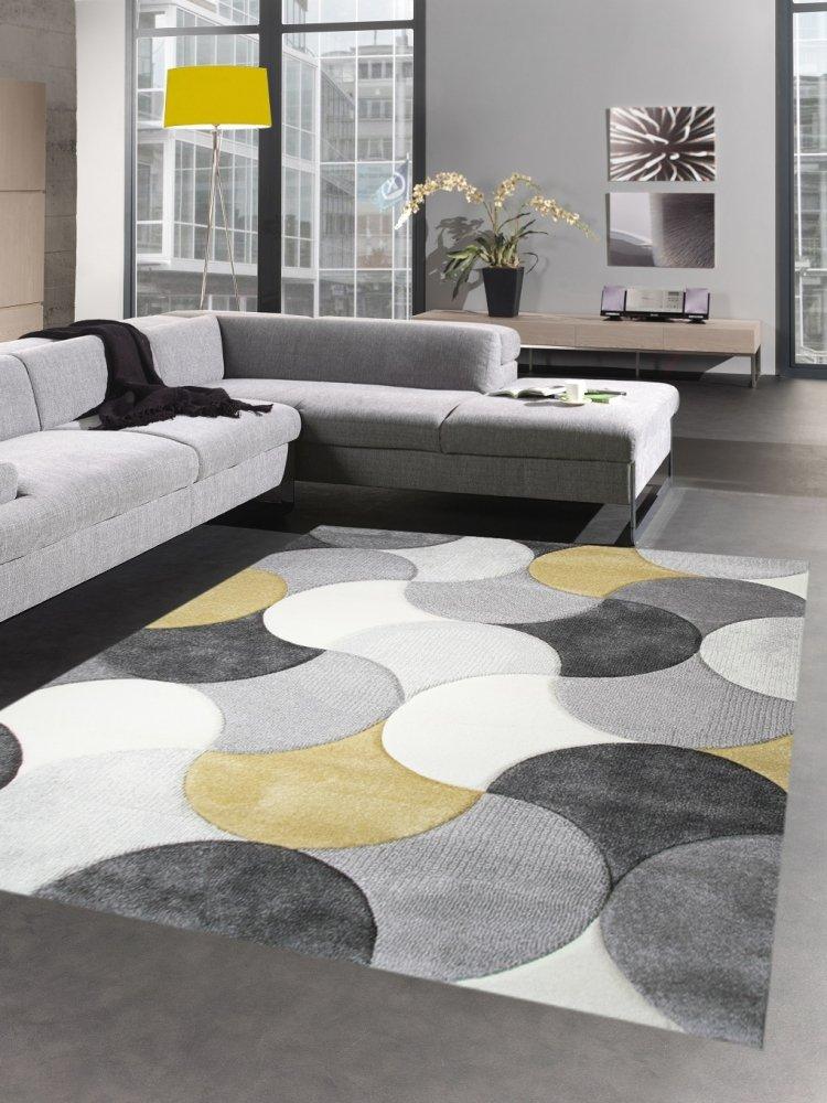 Carpetia Designer Teppich Wohnzimmerteppich Kurzflor Tropfen senfgelb gelb grau Creme Größe 200 x 290 cm