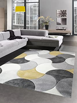 Carpetia Tapis de Salon Design Tapis Court Pile Gouttes Moutarde ...