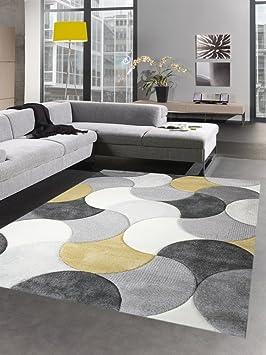 Carpetia Tapis de Salon Design Tapis Court Pile Gouttes Moutarde Jaune Gris  crème Größe 160x230 cm
