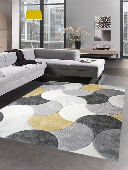 ec95b00884af82 Carpetia Designer Teppich Wohnzimmerteppich Kurzflor Tropfen senfgelb gelb  grau Creme Größe 80x150 cm