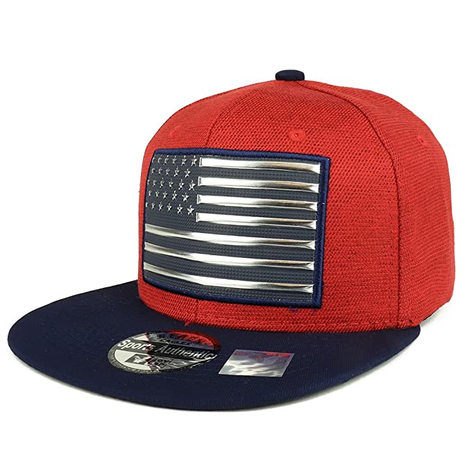 Trendy Apparel Shop PVC Metallic USA Flag Flatbill Snapback Cap - Red Navy aad1e1699e10